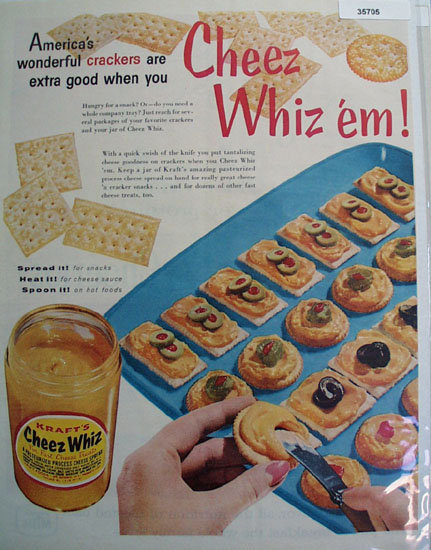 Krafts Cheese Whiz Spread 1958 Ad