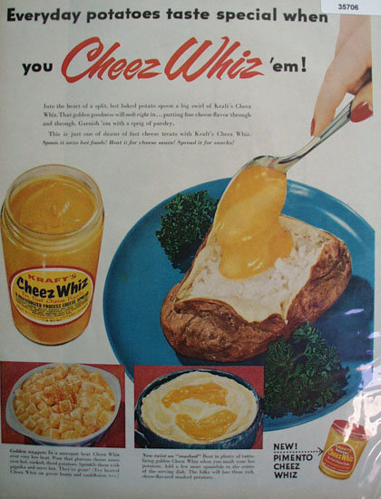 Kraft Pimento Cheez Whiz Spread 1955 Ad