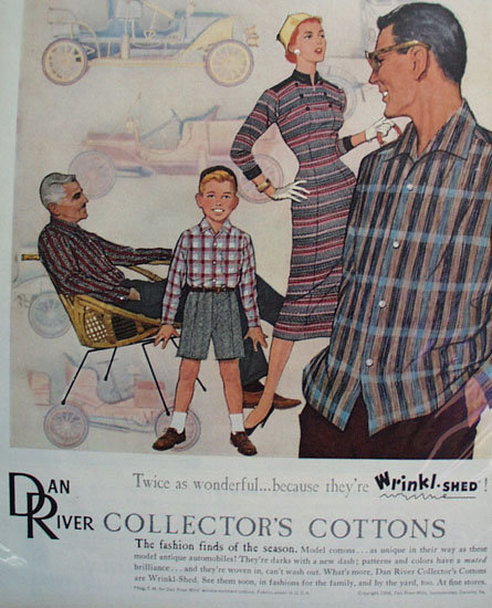 Dan River Wrinkl-Shed Cotton Clothes 1956 Ad