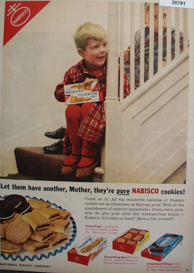 Nabisco Fig Newton Swiss And Oreo Cookies 1953 Ad