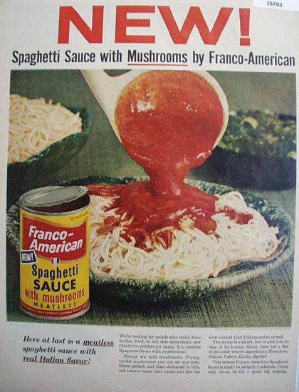 New Franco American Spaghetti Sauce 1955 Ad