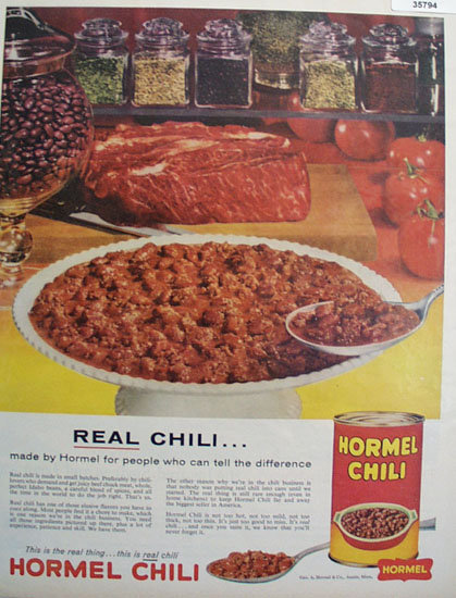 George A. Hormel Co. Real Chili 1959 Ad