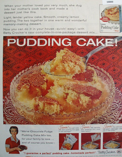 Betty Crocker Lemon Pudding Cake Mix 1959 Ad