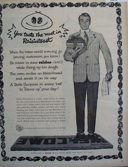 California Raisin Advisory Board 1958 Ad