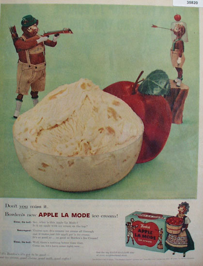 Bordens Apple La Mode Ice Cream 1956 Ad