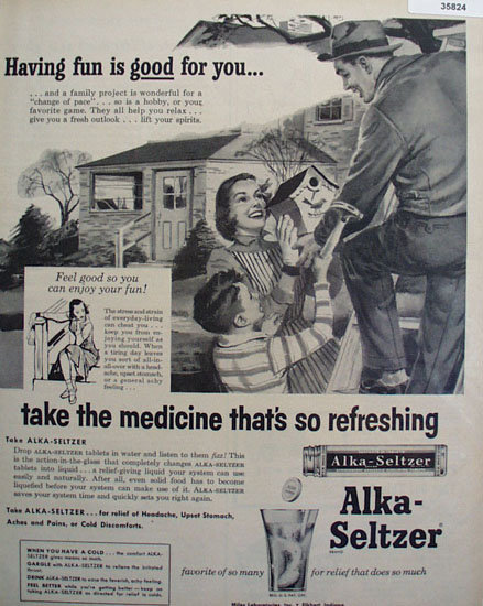 Miles Laboratories Alka Seltzer 1956 Ad