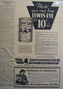 Lewis Lye 1934 Ad