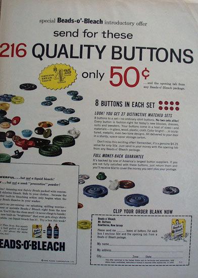 Purex Beads O Bleach 1958 Ad