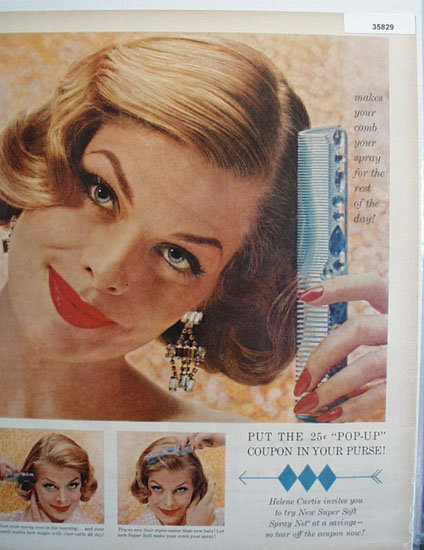 Helene Curtis Spray Net 1958 Ad