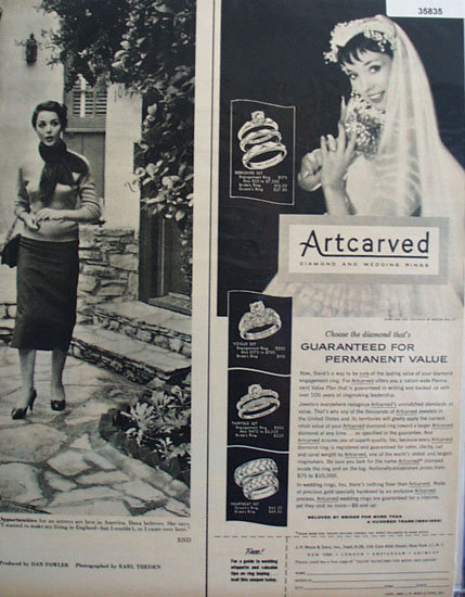 J. R. Woods Artcarved Diamond And Wedding Rings 1956 Ad