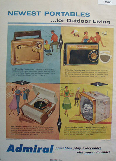 Admiral Radio Portable Phonograph T V 1957 Ad