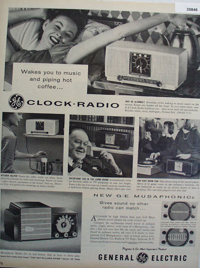 General Electric Clock Radio 1955 Ad