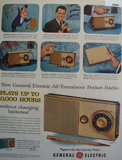 General Electric Transistor Pocket Radio 1957 Ad
