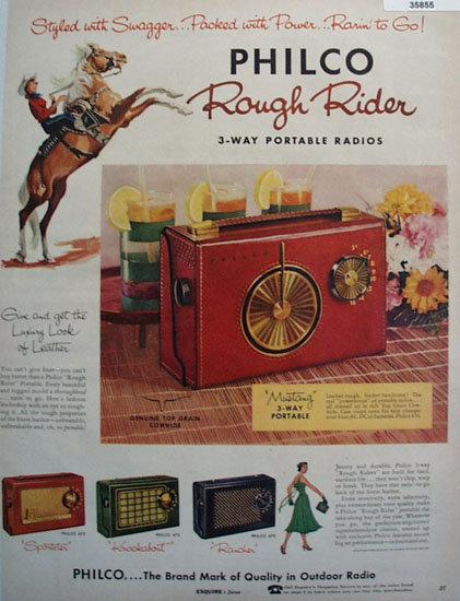 Philco Rough Rider Portable Radio 1956 Ad