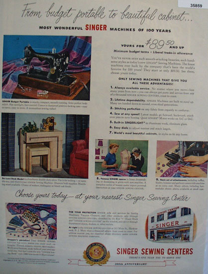 Singer Sewing Center 100th Anniversary 1951 Ad