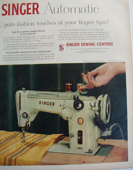 Singer Sewing Machine Finger Tip Control 1956 Ad