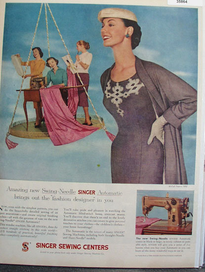 Singer Swing Needle Sewing Machine 1956 Ad