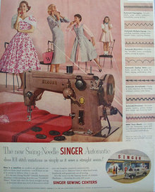 Singer Swing Needle Sewing Machine 1955 Ad