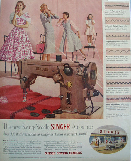 Singer Swing Needle Sewing Machine 1955 Ad