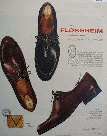 Florsheim Fingerflex Shoes 1957 Ad