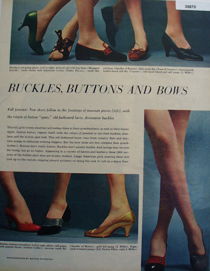 Buckles Buttons and Bows Shoes 1956 Ad