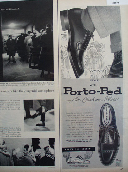 Portage Shoe Co. Porto Ped Shoes 1956 Ad