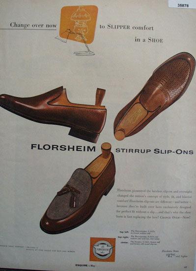 Florsheim Stirrup Slip Ons Shoe 1956 Ad