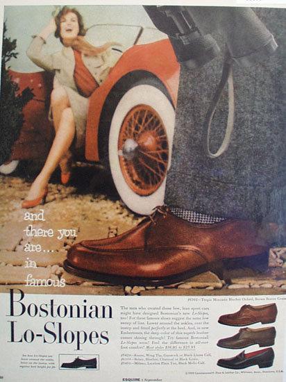 Bostonian Lo Slopes Shoes 1955 Ad