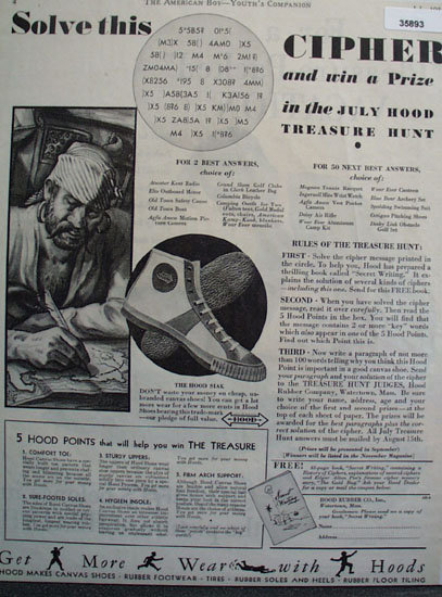 Hood Rubber Co. Cipher Shoe Contest 1931 Ad