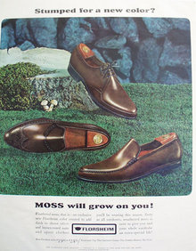 Florsheim Moss Color Shoes 1965 Ad