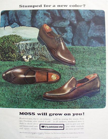 Florsheim Moss Color Shoes 1965 Ad