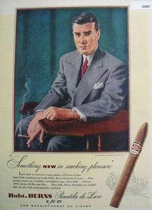 Robt. Burns Panatela De Luxe Cigars 1947 Ad