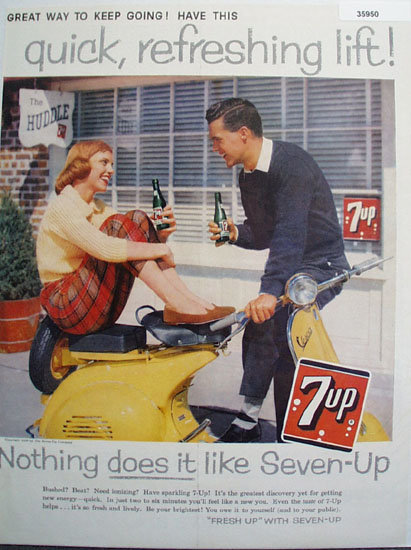 Seven Up Girl On Scooter 1958 Ad