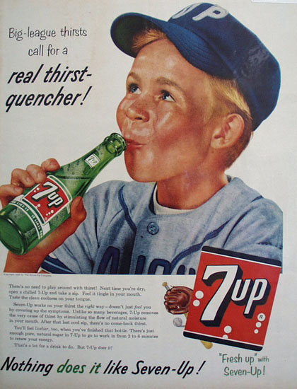Seven Up Big League Thirsts 1956 Ad.