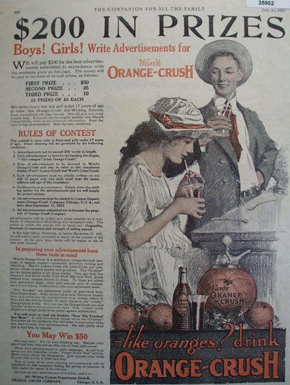 Orange Crush Ad Writing Contest 1921 Ad.