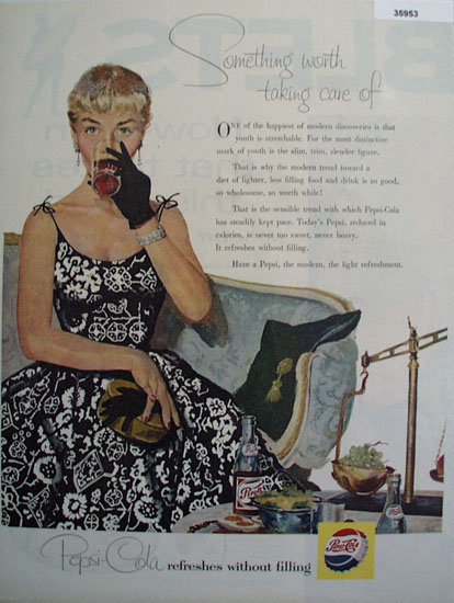 Pepsi Cola Refreshes without Filling 1955 Ad