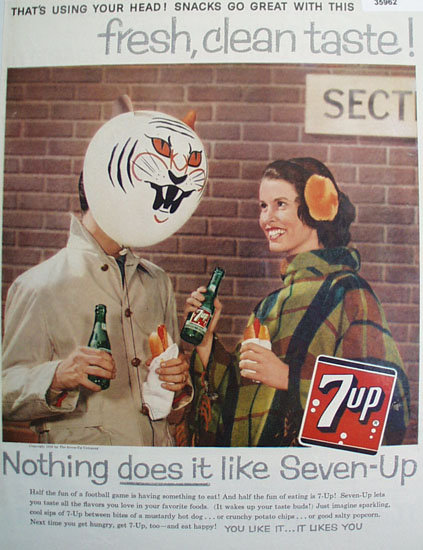 Seven Up Using Your Head 1959 Ad.