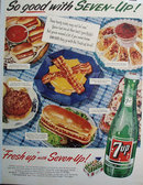 Seven Up Hearty Treats 1955 Ad