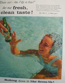 Seven Up Plunge in Pool 1957 Ad