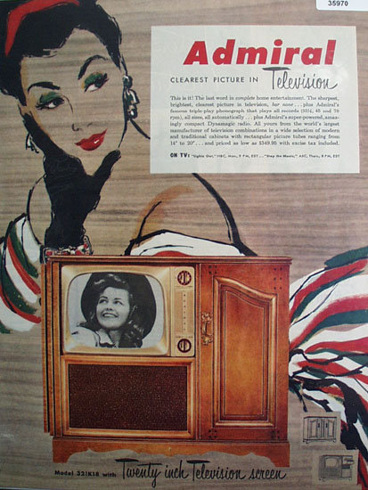 Admiral Television Clearest Picture 1951 Ad