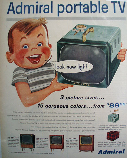 Admiral Portable TV 1956 Ad