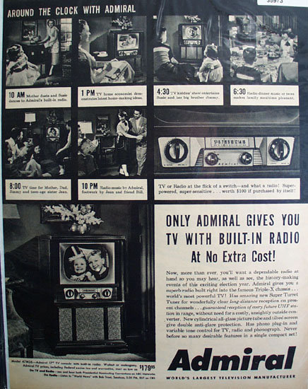 Admiral Television Around The Clock 1952 Ad