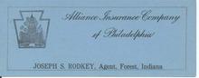 Alliance Ins. Co. of Philadelphia Ink blotter