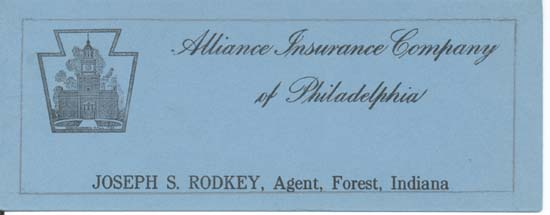 Alliance Ins. Co. of Philadelphia Ink blotter