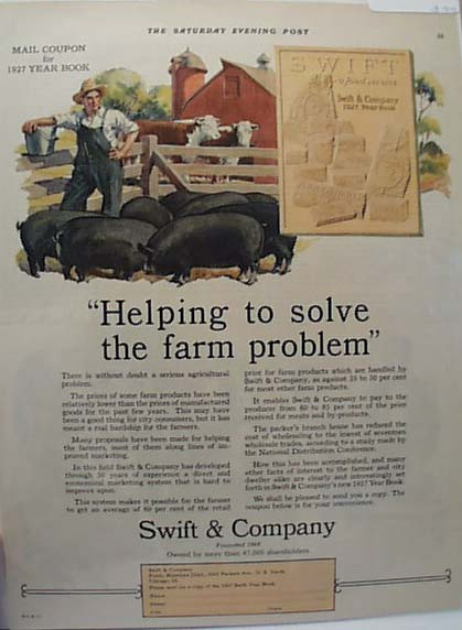 1927 Swift ad, helps farmers