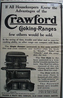 Crawford Cooking Ranges 1910 Ad