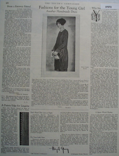 Fashions For The Young Girl 1926 Article