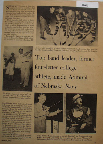 Sammy Kaye 1951 Article