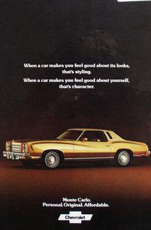 Chevrolet Monte Carlo Car 1977 Ad