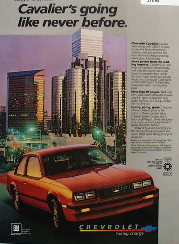 Chevrolet Cavalier Car 1983 Ad